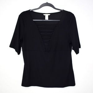 H&M Sexy Strappy Plunge Short Sleeve Top